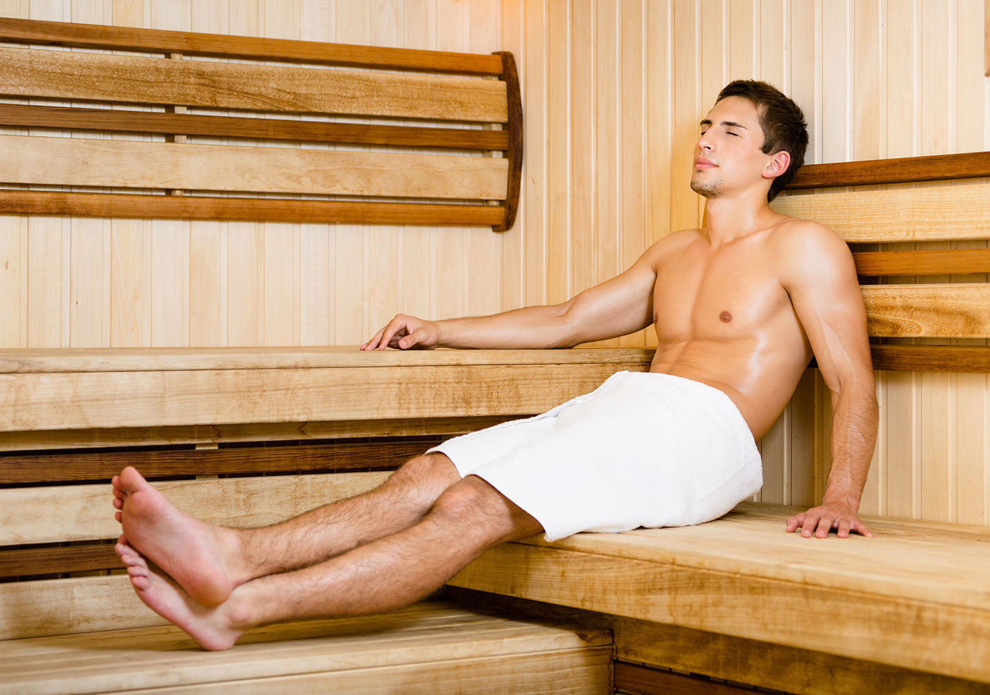 Man in Spa Sauna