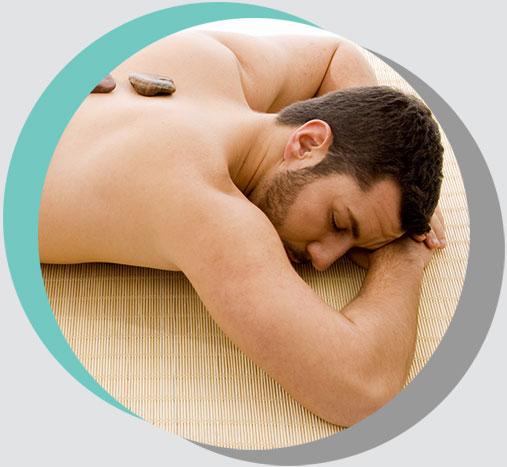 Man at Spa Back Stone Massage